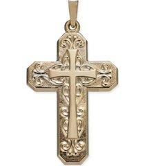 decorative cross within cross pendant in 14k gold