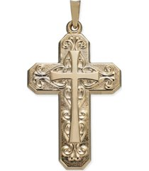 decorative cross within cross pendant in 14k gold
