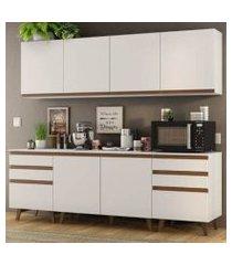 cozinha completa madesa reims 240002 com armário e balcão branco branco