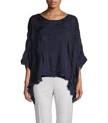 floral-embroidered silk top