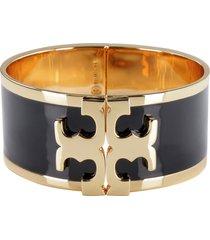 tory burch enamelled logo brass bracelet