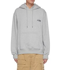 back logo print cotton drawstring hoodie