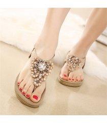 sandalias zapatos bohemia cristal dedo pie clip casual -beige