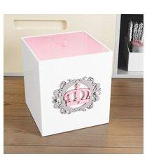 lixeira quarto bebê coroa arabesco mdf grão de gente rosa