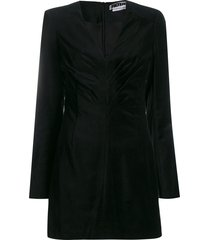 rotate velour draped mini dress - black
