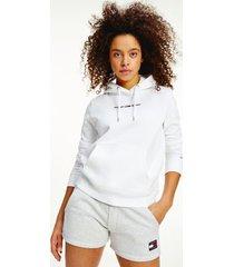 tommy hilfiger organic cotton linear logo hoodie white - xl