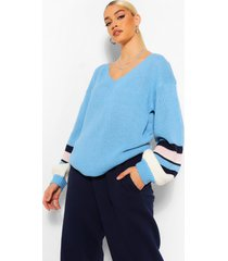 gestreepte trui met ballonmouwen, bright blue