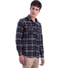 camisa  drazzo manga longa xadrez prosa azul - kanui