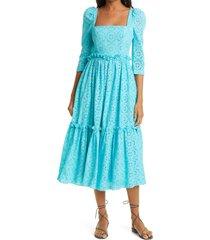 women's cara cara blue hill cotton eyelet dress, size 2 - blue