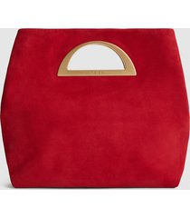reiss belgravia - suede fold over clutch bag in red, womens