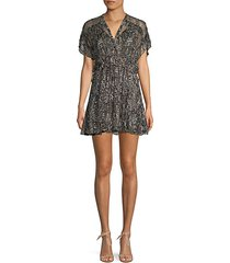 gilio print ruffled mini dress