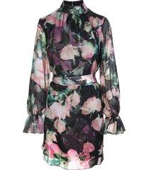 blumarine short dress in black silk with rose print