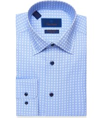 men's big & tall david donahue trim fit performance stretch check dress shirt, size 18 - 36/37 - blue