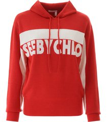 see by chloé hooded sweater with logo