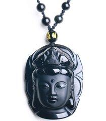 collana in pendente kwan-yin intagliato obsidian nero