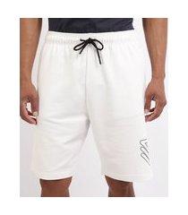bermuda de moletom masculina esporte ace futebol com bolsos e cós com elástico branco