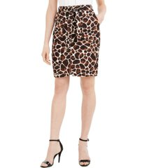 calvin klein giraffe-print tie-belt pencil skirt