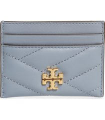 women's tory burch kira chevron leather card case - blue