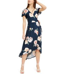 bcx juniors' high-low wrap dress