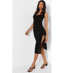 tall strakke midi jurk met waterval hals en zijsplit, black