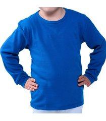 camiseta manga larga azul clásico santana cuello redondo