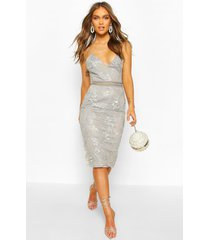 boohoo occasion sequin floral midi dress, grey