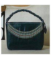leather handbag, 'wave crest' (mexico)