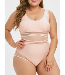 mesh panel piping plus size one-piece swimsuit