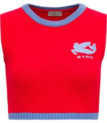 etro red wool crop vest with logo
