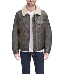 levi's men's sherpa lined faux leather trucker jacket