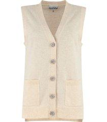 ganni embellished button cashmere vest