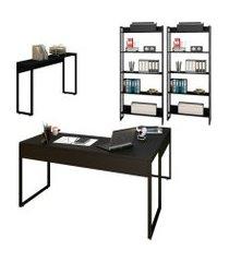 conjunto escritório mesa em l aparador e 2 estantes studio industrial m18 preto – mpozenato