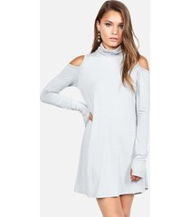 harp turtleneck dress - l lace grey