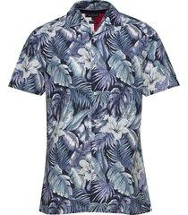 hawaiian print shirt s/s overhemd met korte mouwen blauw tommy hilfiger