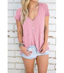 camisetas de manga corta con cuello en v ahuecado en rosa