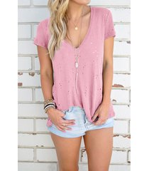 v-neck hollow out short sleeves t-shirts in pink