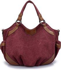 spalla borsa tracolla borsa della tela di canapa casuale dell'annata delle donne