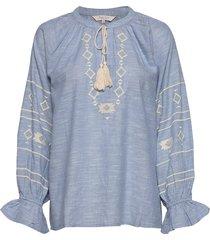 dendiepw bl blouse lange mouwen blauw part two