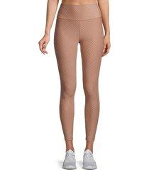 all fenix women's dot-print ankle-length leggings - taupe - size m