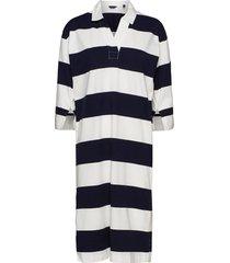 d1. feminine striped rugger dress knälång klänning blå gant