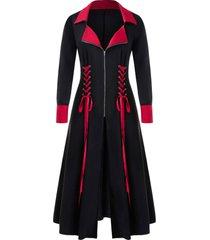 plus size two tone lace up zip long coat