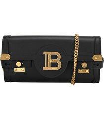 balmain smooth black leather b-buzz 23 clutch bag