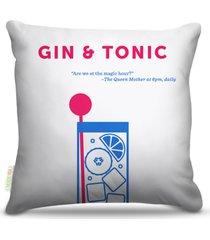 almofada nerderia bebidas vetor gin e tonica 45x45cm - multicolorido - dafiti