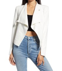 women's blanknyc mesh mix drape front jacket, size large - white