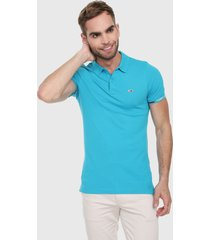 polo azul turquesa tommy jeans