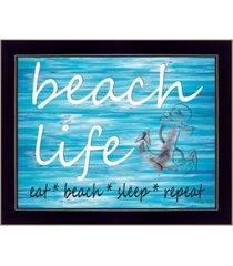 "trendy decor 4u beach life by cindy jacobs, printed wall art, ready to hang, black frame, 18"" x 14"""