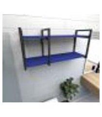 prateleira industrial para banheiro aço preto prateleiras 30cm azul escuro modelo ind21azb