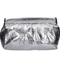 isabel marant luz clutch in silver leather