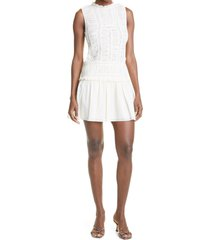 rebecca taylor ruched lace inset cotton dress, size 0 in new ivory at nordstrom