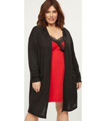 lane bryant women's brushed jersey hooded robe 18/20 black